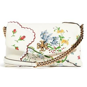 TORY BURCH mixed floral afternoon tea chain wallet